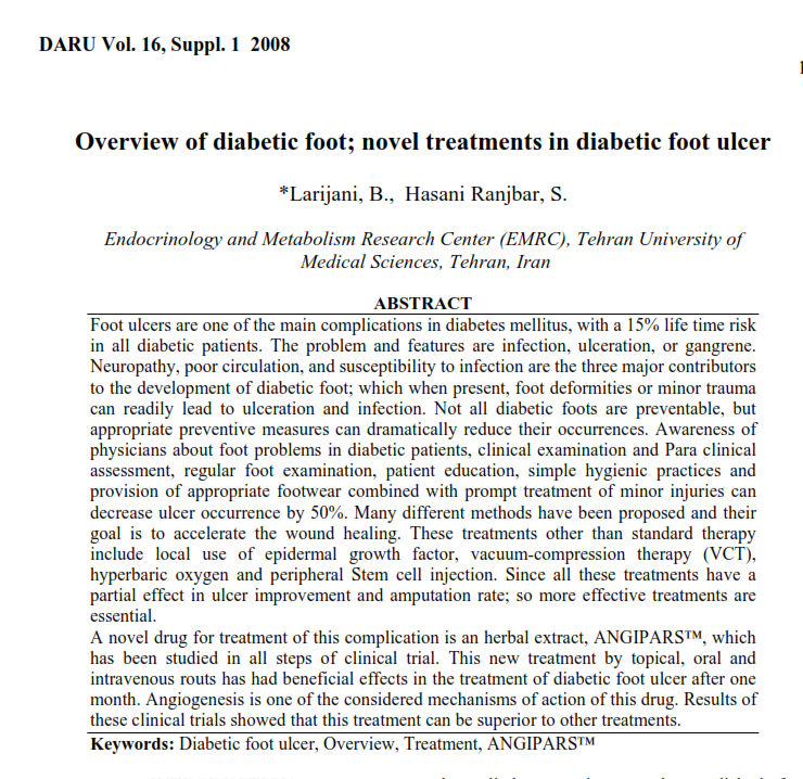 Overview of diabetic foot; novel treatments in dia